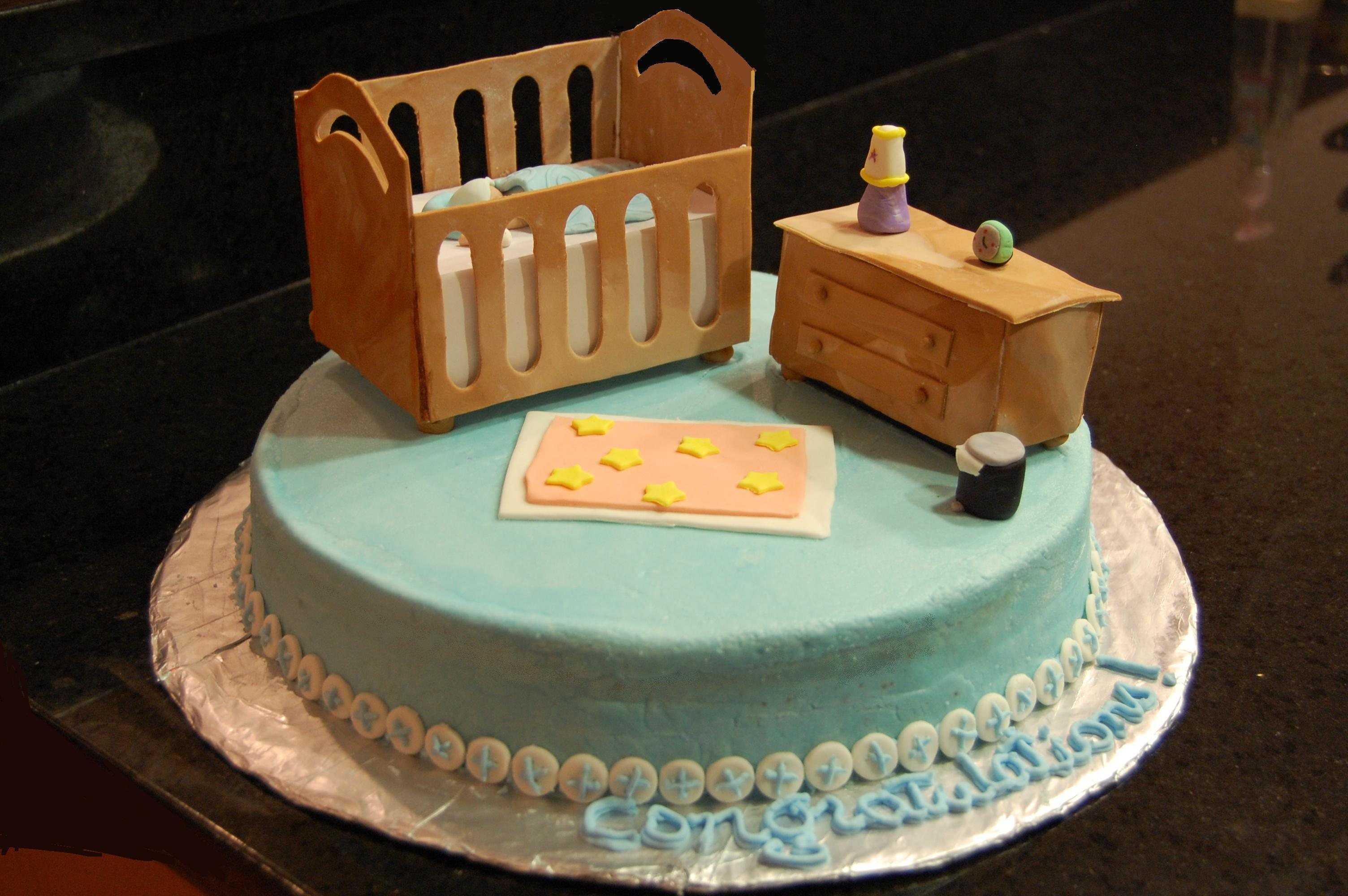 Baby In A Crib Baby Shower Cake