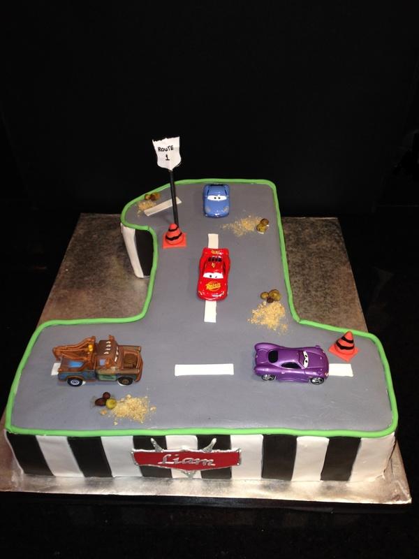 CARS themed 1st birthday cake Marias Dream Cakes
