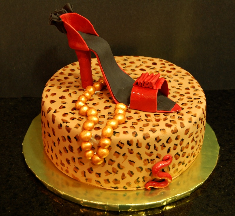 Hand Painted Cheetah Print Cake