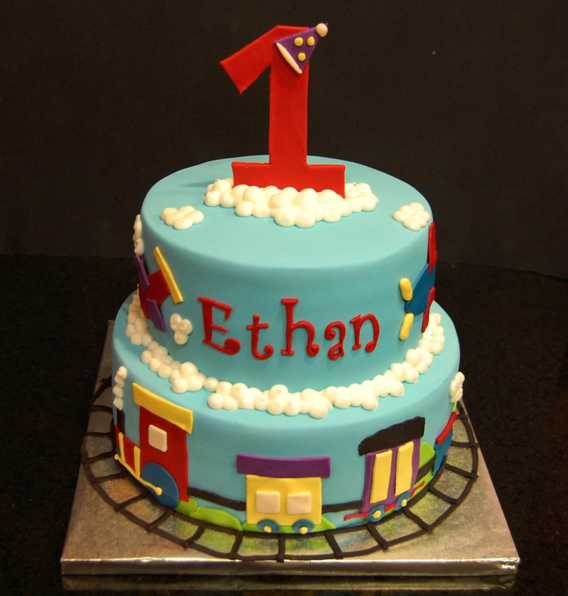 A train themed cake for a little boy
