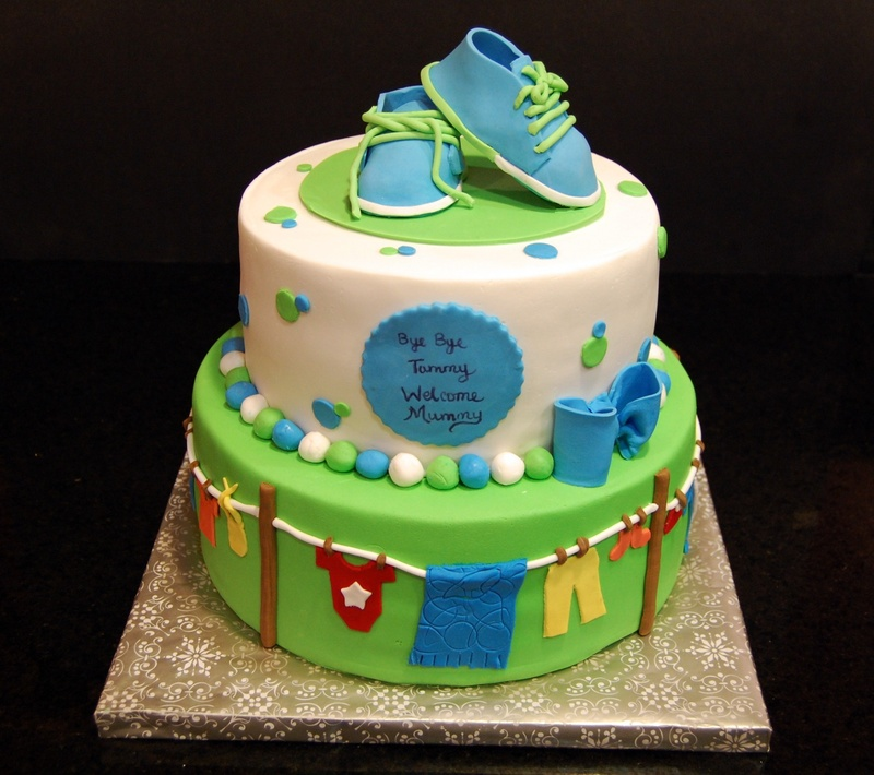Clothesline Themed Baby Shower Cake