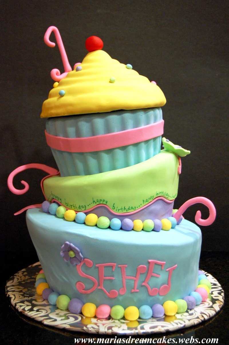 Giant cupcake themed Whimsical Cake