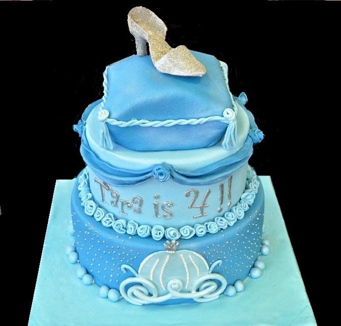 Peachy Cinderella Themed Cake Personalised Birthday Cards Petedlily Jamesorg