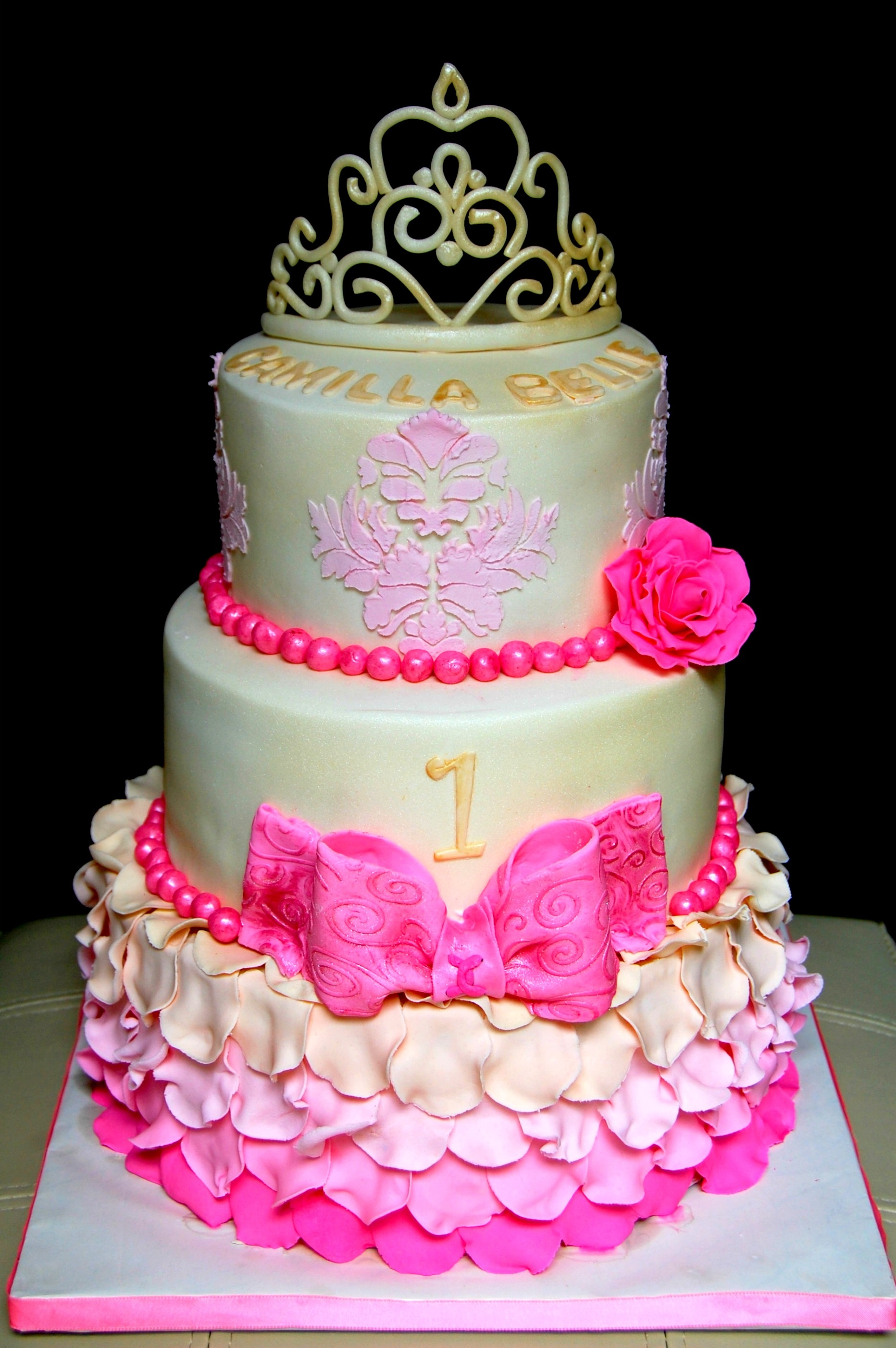 Cake for a sweet client who specifically wanted roses, tiara, damask