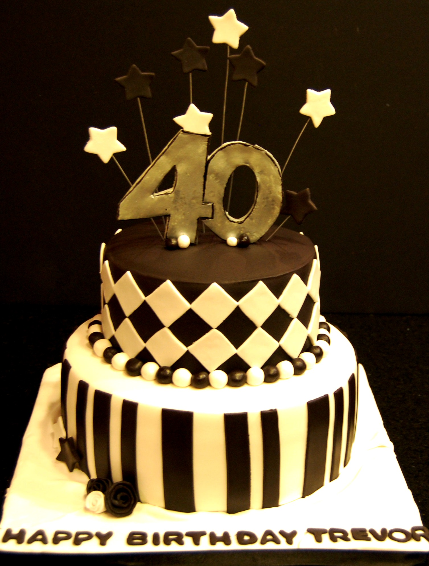 Black and white themed 40th bday cake Marias Dream Cakes