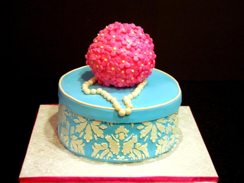 Blue damask birthday cake