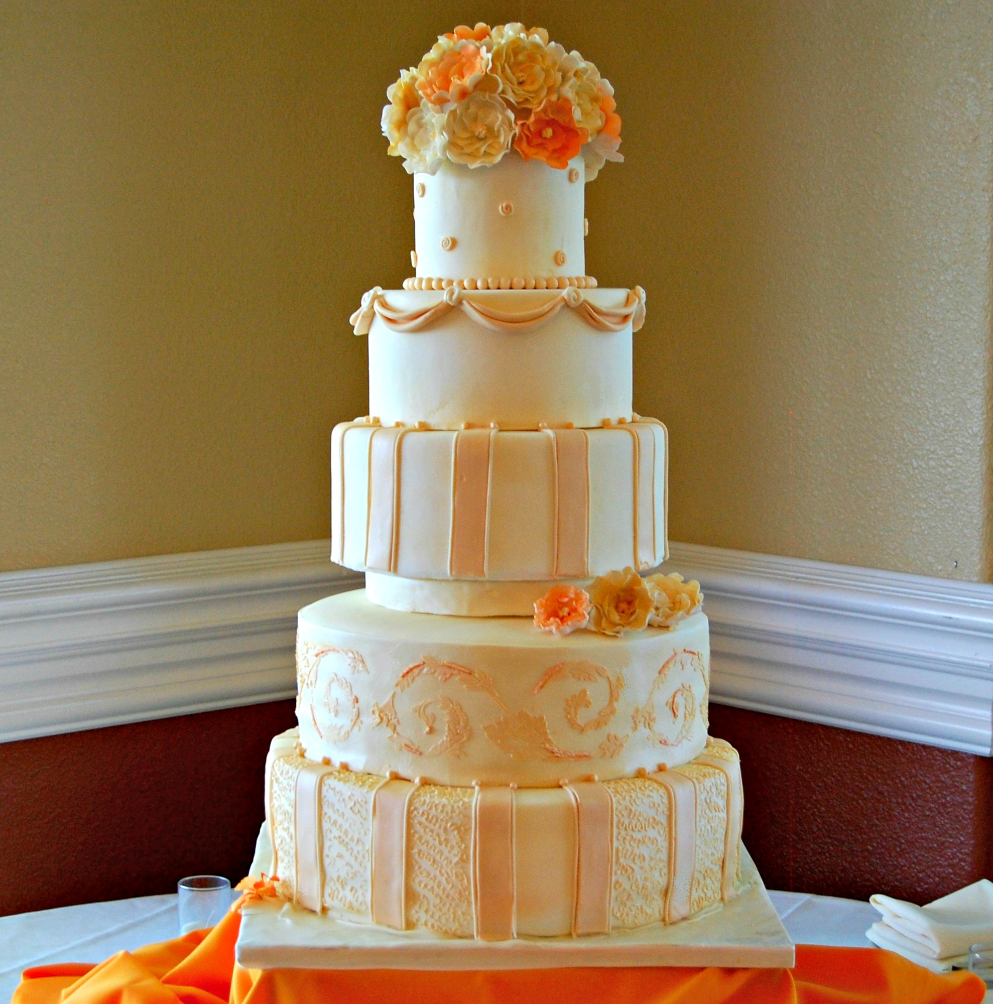 Ivory and Orange Wedding cake