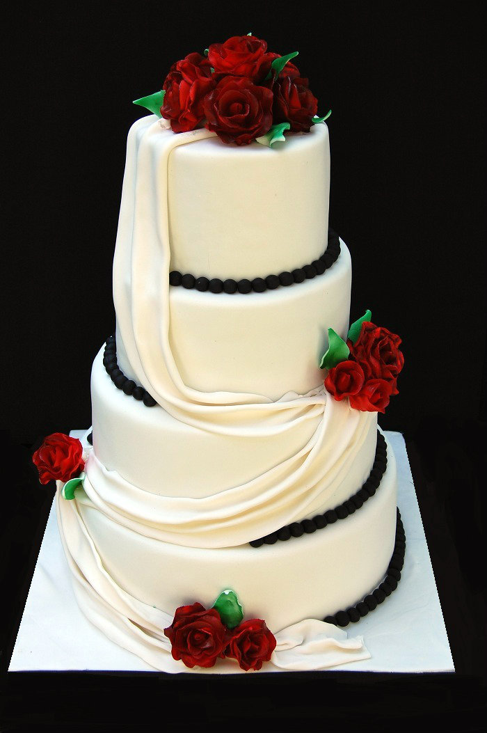 Drapes And Roses Wedding Cake