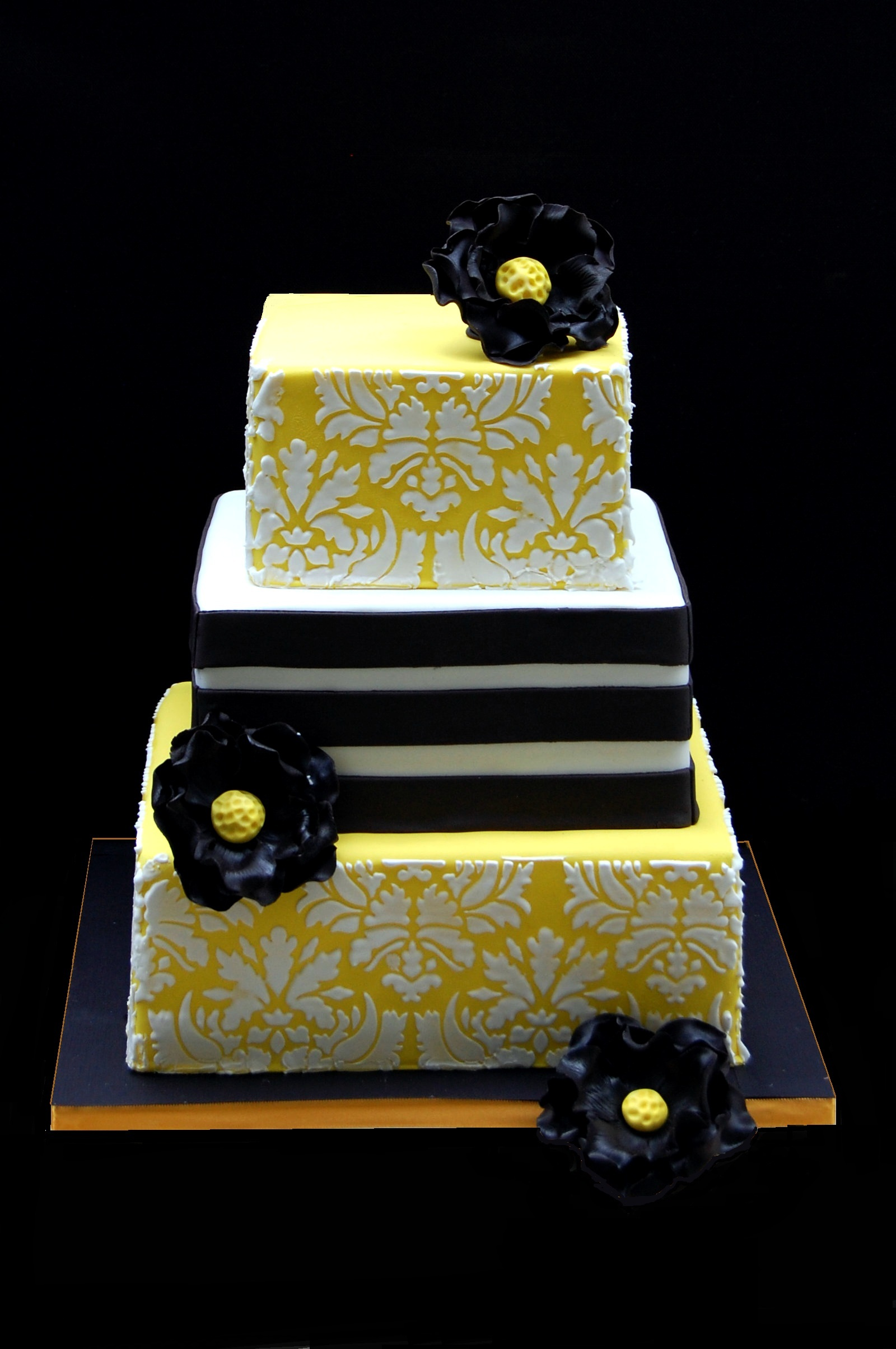 Damask square wedding cake