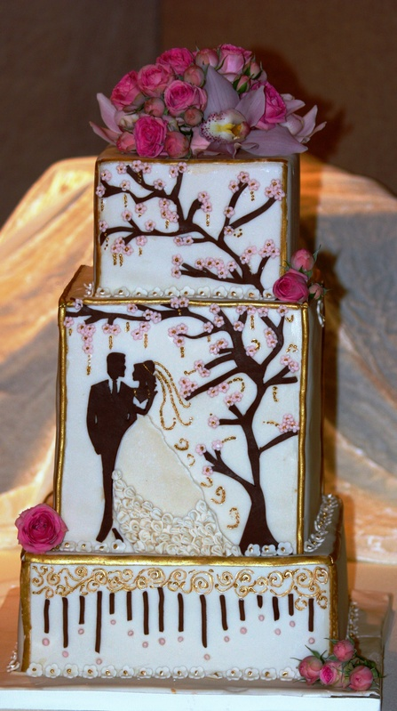 Ivory and chocolate contemporary wedding cake