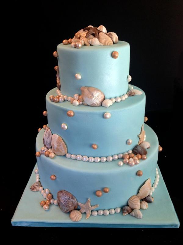 A beach themed wedding cake
