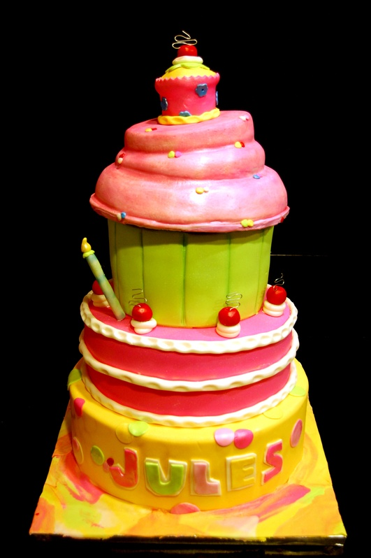 Giant Cupcake Theme 1st Birthday Cake Marias Dream Cakes