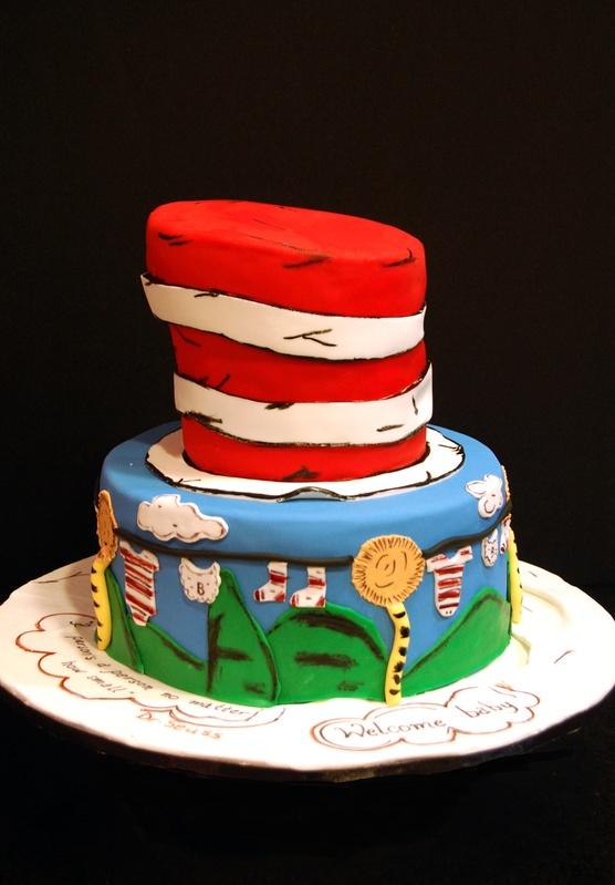 Dr Seuss Themed Baby Shower Cake