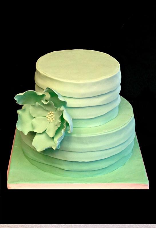 Mint ombre cake with gumpaste fantasy flower