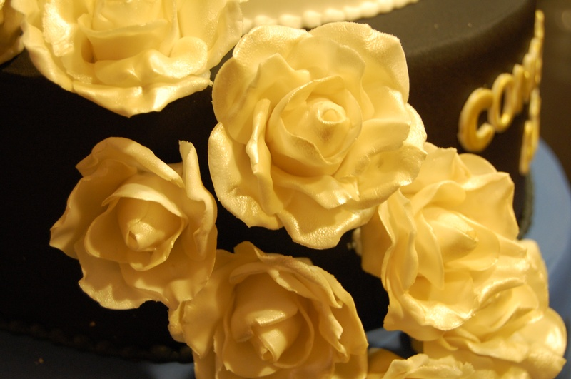 Close up of gumpaste roses